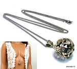 Collier long boule Acier inoxydable