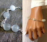 Bracelet perles blanches Argent 925 massif