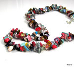 Collier double ships de quartz multicolores