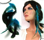 Headband plumes bleues turquoise Cuir tressé