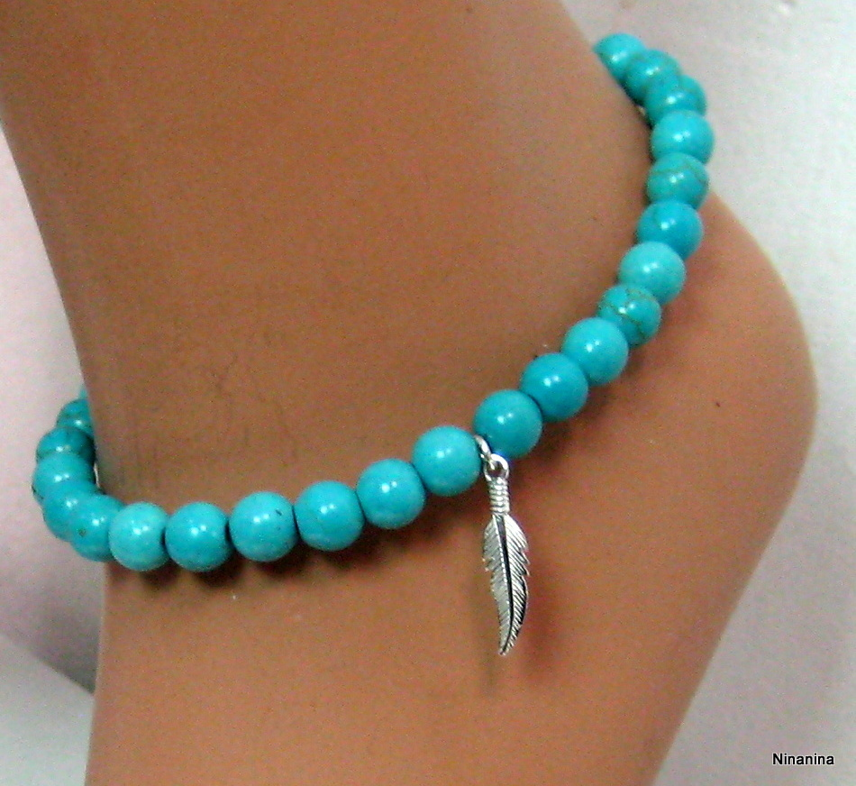 ninanina bracelet de cheville perles turquoises argent massif. Black Bedroom Furniture Sets. Home Design Ideas