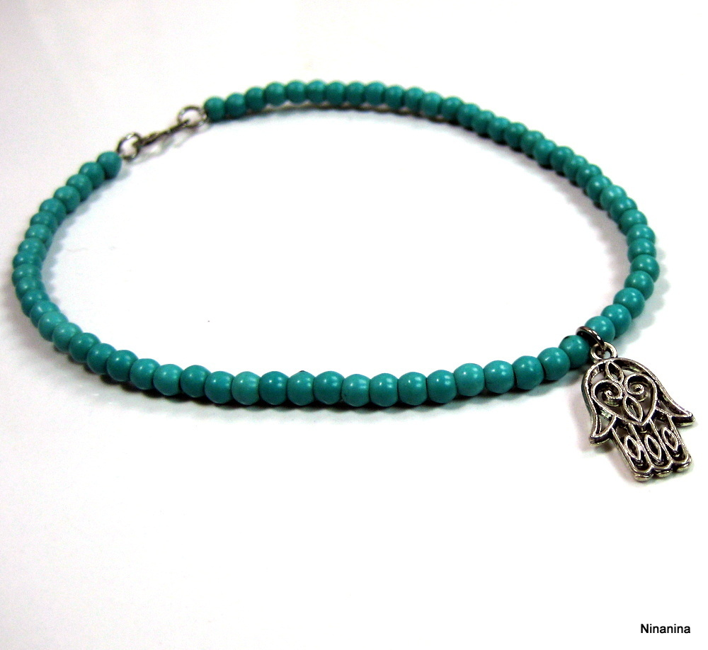 ninanina bracelet de cheville main de fatma perles turquoises. Black Bedroom Furniture Sets. Home Design Ideas