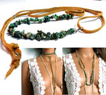 Collier tribal daim et turquoise africaine
