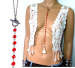 Collier long acier inoxydable perles rouges