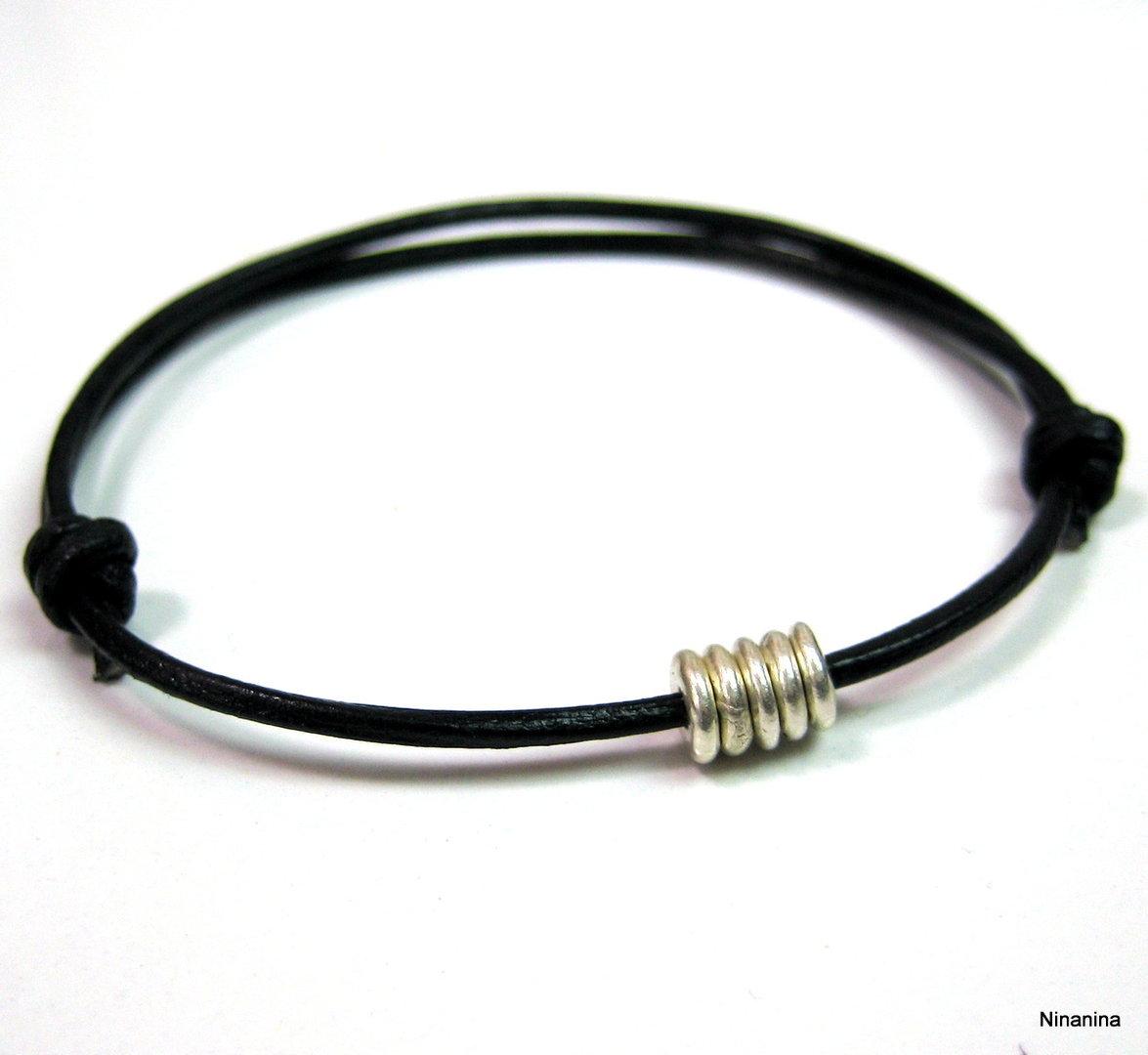 bracelet argent et cordon