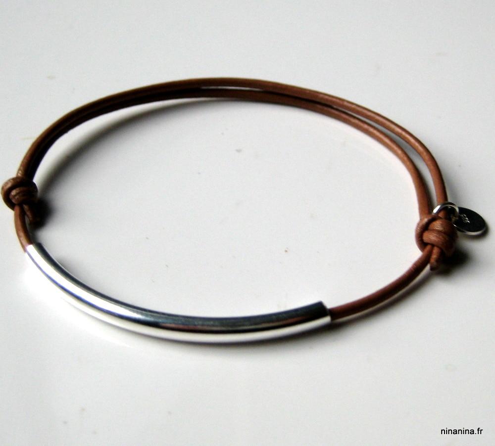 bracelet argent cuir femme