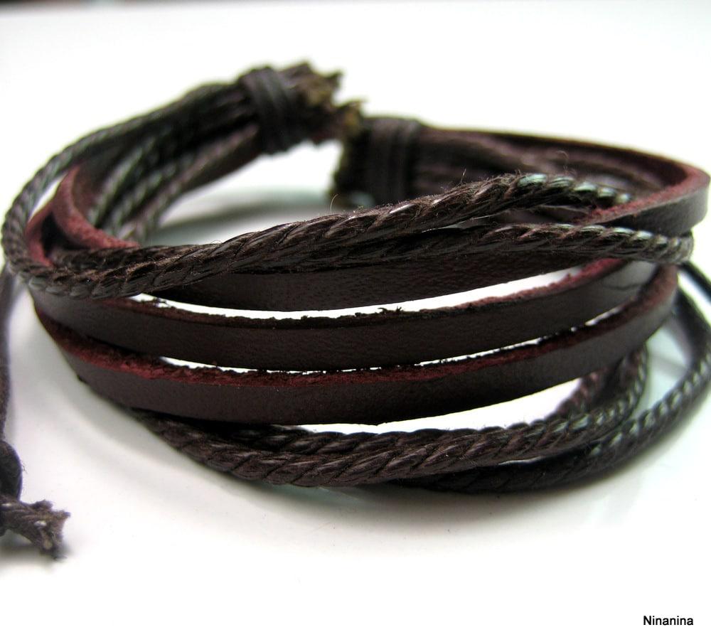 bracelet cuir homme multi liens