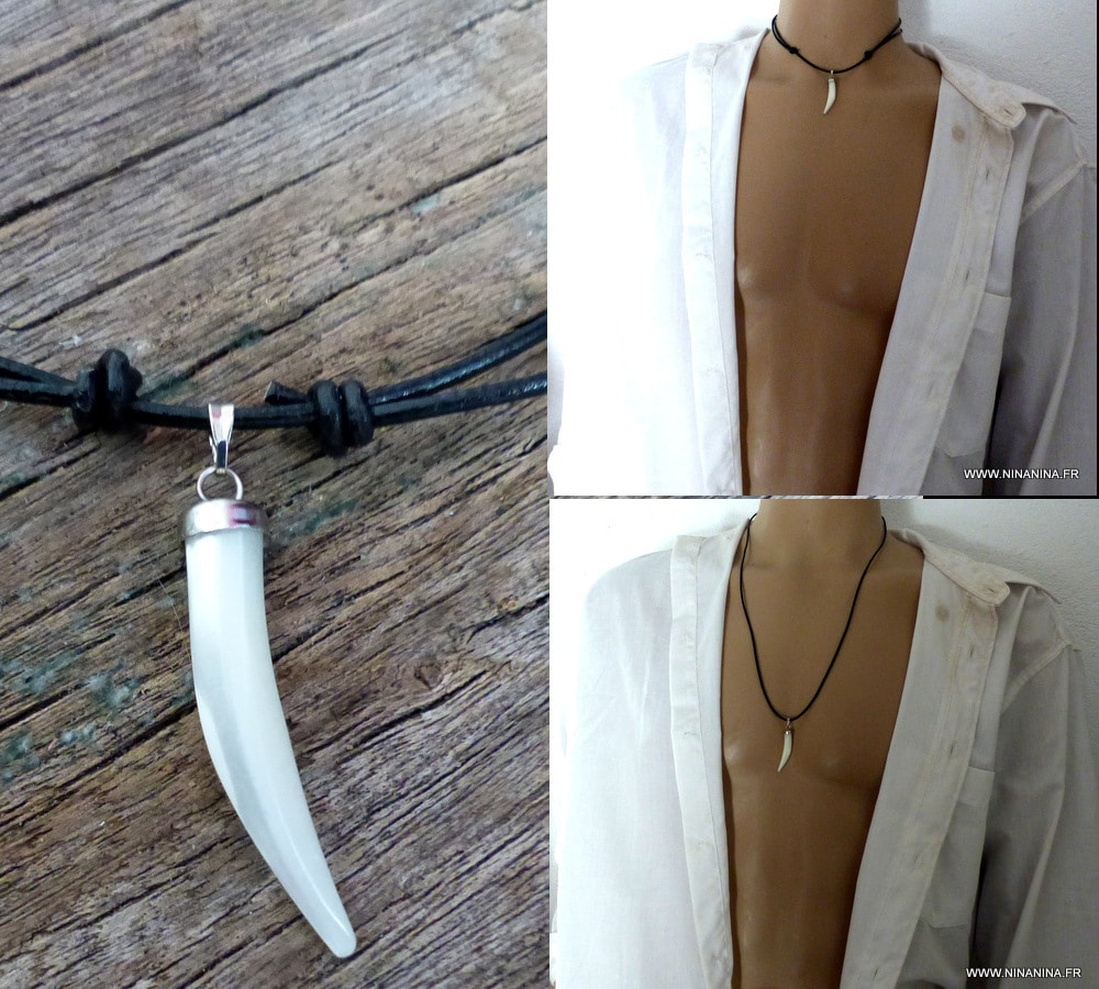 collier homme nacre