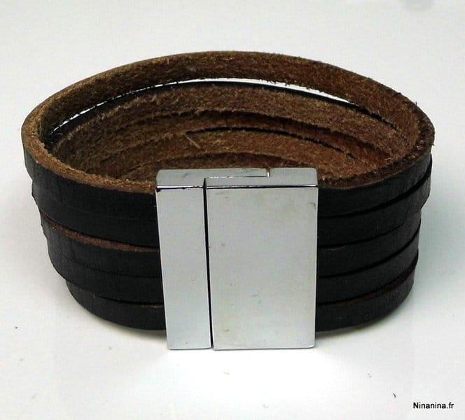 bracelet cuir homme large