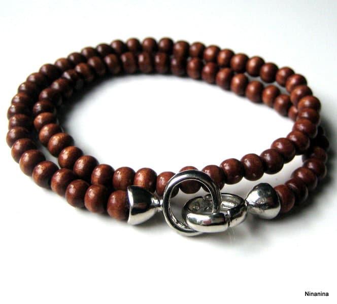 bracelet femme perle bois