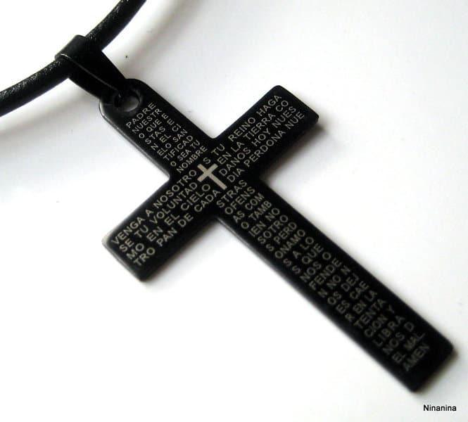 collier cuir croix homme