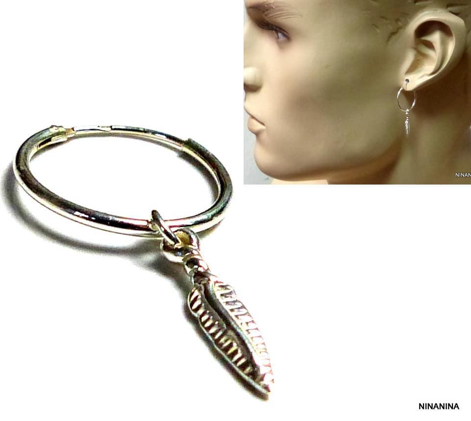 boucle d'oreille anneau plume