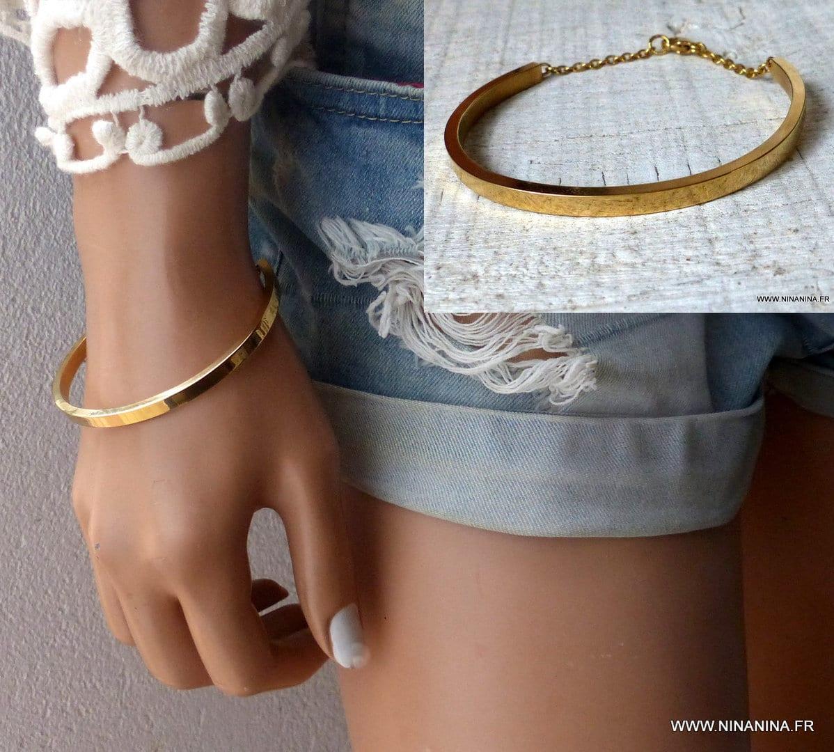 bracelet femme jonc plaque or