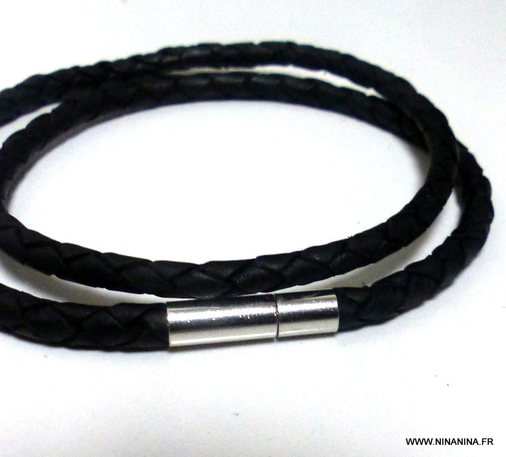 bracelet cuir 2 tours homme