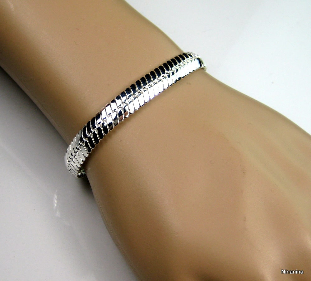 bracelet argent maille plate femme