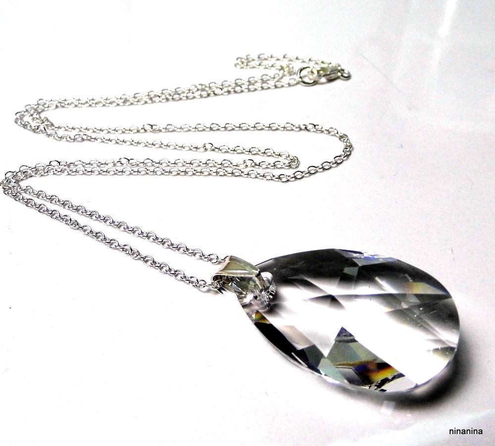 Collier long Swarovski pendentif goutte cristal Argent 925