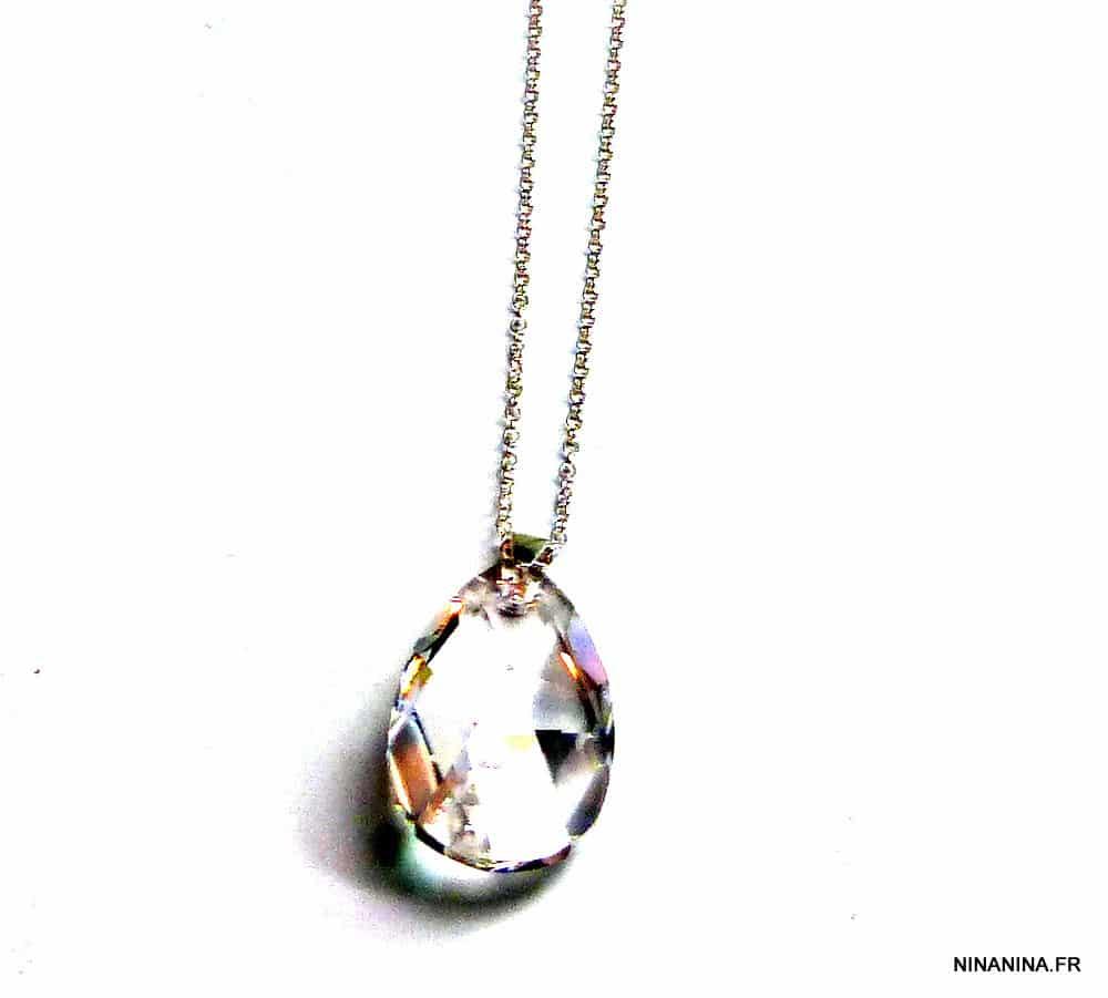 Sautoir Swarovski goutte cristal Argent 925 pour femme