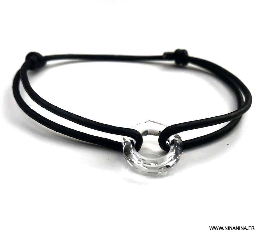 Bracelet swarovski pas cher anneau cristal cordon cuir