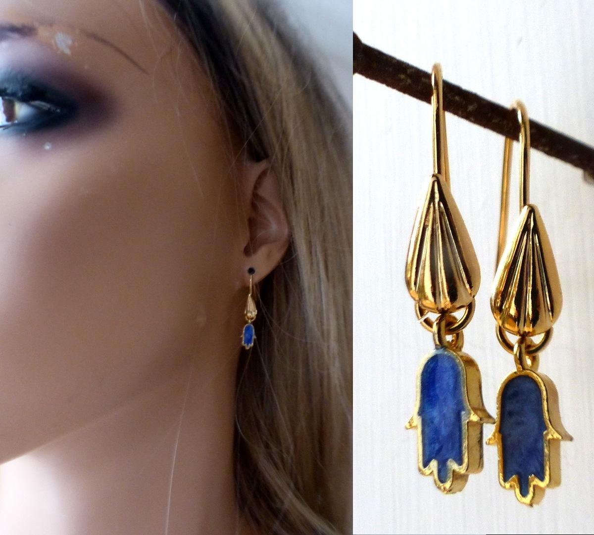Boucle d/'Oreille Plume Main de Fatima Bijoux Tribal Jewellry
