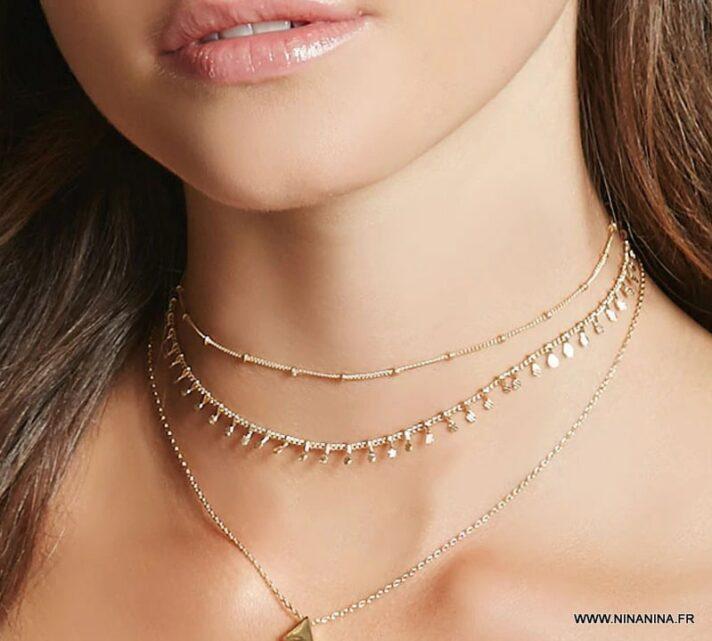 N6646 Collier acier doré femme avec pampilles style oriental - Bijoux Colliers en ligne Ninanina
