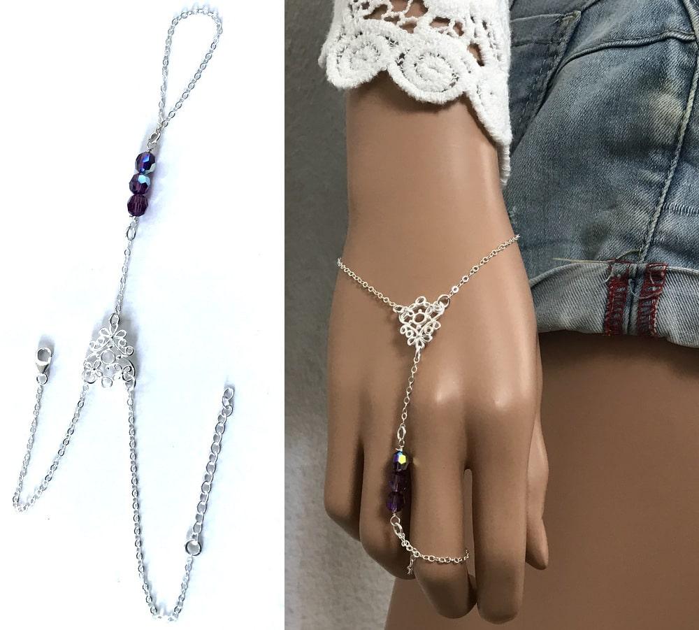 Chaîne de main Swarovski argent - Bracelet bague cristal