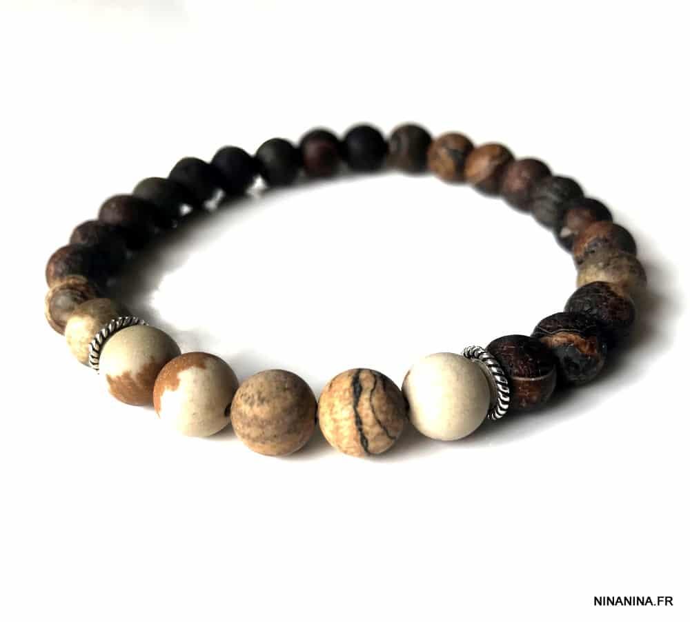 Bracelet pierre marron jaspe paysage et pierre naturelle